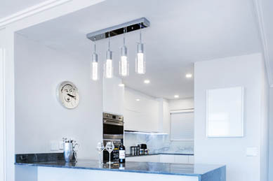 This picture shows track lighting installation in Berkeley and Oakland kitchen island.